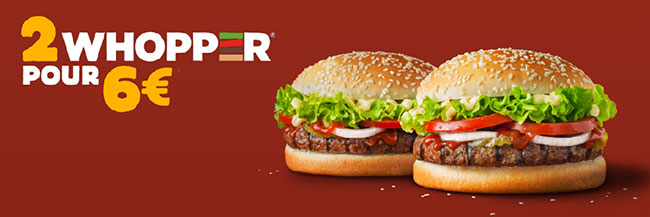 Lot de 2 hamburgers Whopper à 6 euros chez Burger King