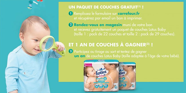 Jeu-concours Carrefour Bébé : Paquet de couches Lotus Baby offerts