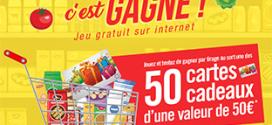 Jeu Cora Rattrapez c'est gagné : 50 cartes cadeaux de 50€
