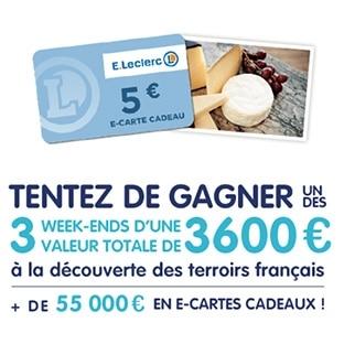 Jeu Leclerc Produits Laitiers : 3 séjours et 10'999 cartes cadeaux