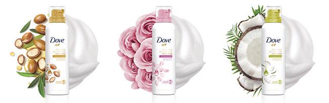 testez  la mousse de douche Surgras Dove