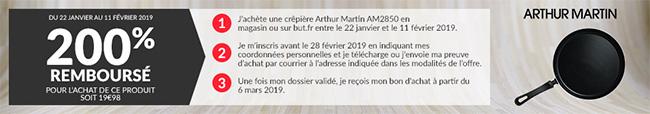 Offre de remboursement BUT Arthur Martin