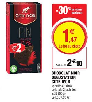 Promo tablettes chocolat Côte d'Or Magasins U