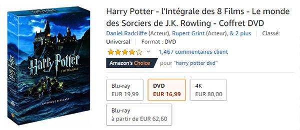 Promo Amazon : Coffrets Harry Potter avec 50% de remise