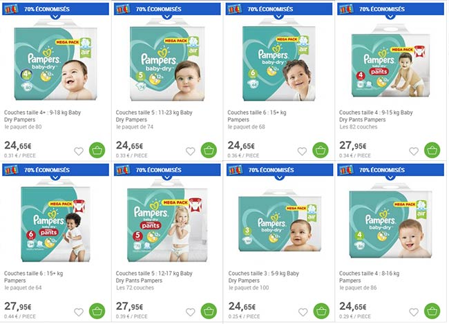Pampers 2 packs de couches pour au lieu de - Promo couche pampers carrefour ...