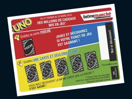 cartes à gratter Uno du jeu de Intermarché
