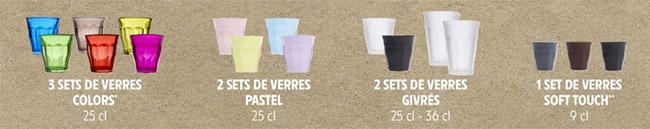 Collections de verres Duralex chez Intermarché