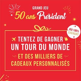 Jeu 50 ans Président : 1 Tour du Monde et 2005 lots à gagner