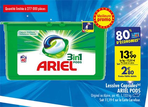 Promotion Lessive Ariel chez Carrefour