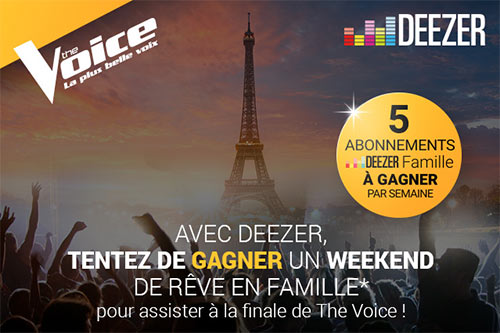 Les cadeaux à gagner au jeu The Voice de Deezer