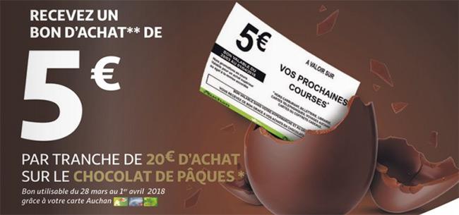 bon d'achat Auchan offert avec les chocolats de Paques