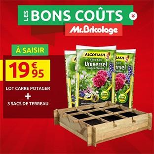 Promo Mr Bricolage : Carré potager + 3 sacs de terreau à 19,95€