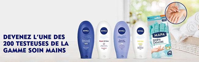 Tentez de tester gratuitement un soin Nivea et des gants Mapa