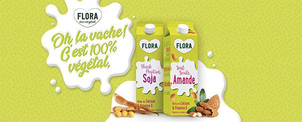 testez les boissons 100% végétales (Soja et Amande) de Flora