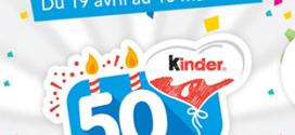 Jeu 50 ans Kinder : 520 cadeaux à gagner aux instants gagnants