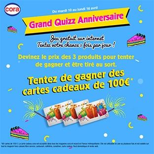 Quizz Anniversaire Cora : 60 cartes cadeaux de 100€ à gagner