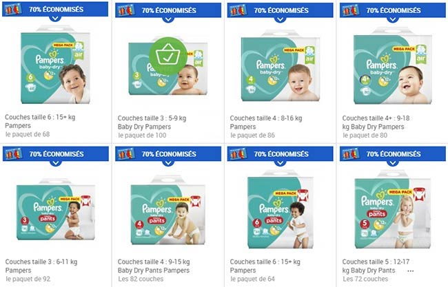 Pampers 4 packs de couches pour au lieu de - Promo couche pampers carrefour ...