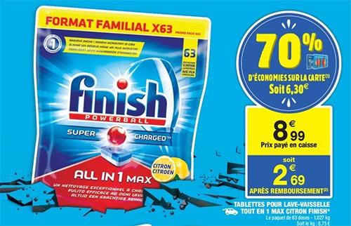 Promotion sur les tablettes Finish chez Carrefour Market