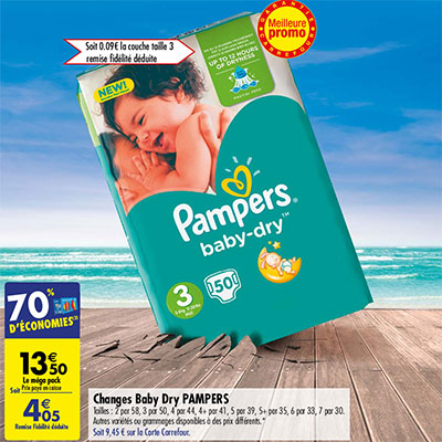 Carrefour promo couches pampers 70 pack 4 05 - Promo couche pampers carrefour ...