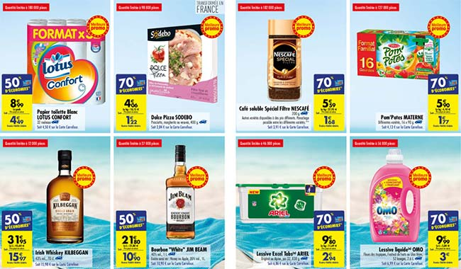 Jusqu'à 70% d'économies pendant Le mois des estivales de Carrefour