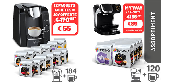 Assortiment de boissons Tassimo acheté = Machine offerte