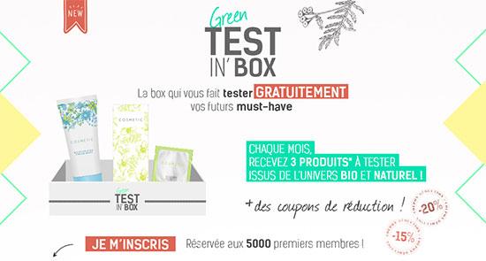 coffret Green Test'in Box gratuit avec Beauté Chérie