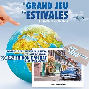 Jeu Estivales Carrefour : bons d'achat voyages de 5000€ à gagner
