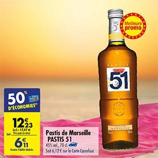 Promo Carrefour : Pastis 51 de Marseille à petit prix