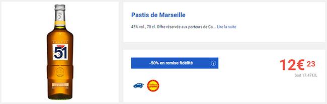 remise fidélité sur la bouteille de Pastis 51 chez Carrefour