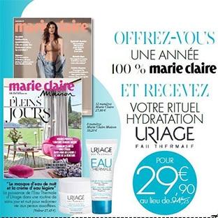 Bon plan Abonnements Marie Claire + soins Uriage