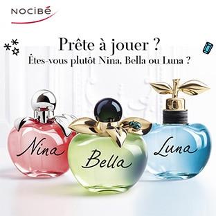 Jeu Nocibé : parfums Bella + Nina + Luna de Nina Ricci à remporter