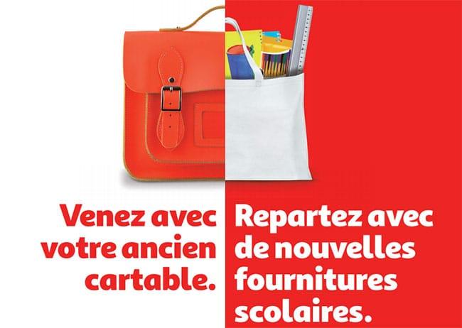 Votre ancien cartable vaut 2 bons d'achat de 10€ chez Auchan