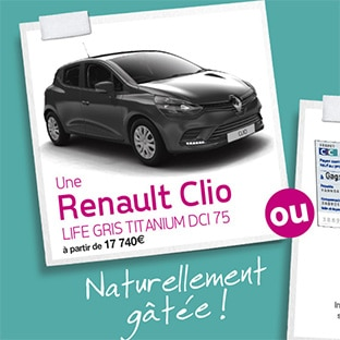 Jeu Françoise Saget : 1 Renault Clio ou 10'000€ à gagner