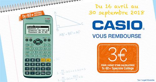 Offre de remboursement Casio