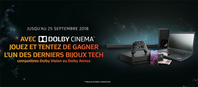 Les cadeaux à gagner au jeu Dolby Cinema