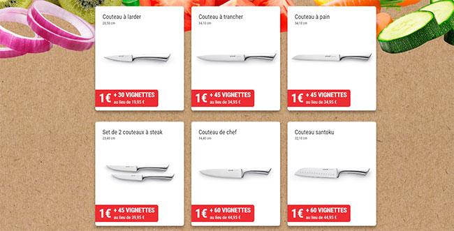 Couteaux Vivo à 1€ en collectionnant les vignettes fidélité d'Intermarché