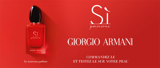 Dose d'essai offerte du parfum Giorgio Armani Si Passione