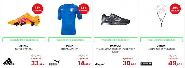 Exemples destockage Go Sports