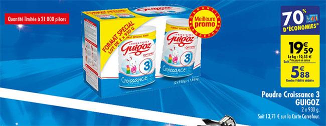 Promotion Carrefour sur le lot de 2 pots de Guigoz