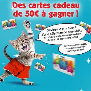 Jeu Cora Devinez le prix : cartes cadeaux de 50€ à gagner