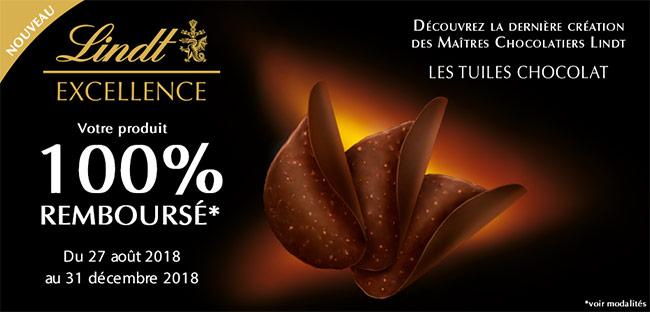 Remboursement intégral de Tuiles Chocolat Excellence de Lindt