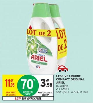 bidons de lessive liquide Ariel pas cher avec la remise fidélité d'Intermarché