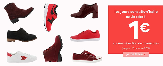 Offre Sensation'hall La Halle : Une paire de chaussures achetée = 1 paire à 1€