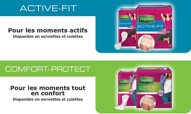 gammes de protections hygiéniques Depend