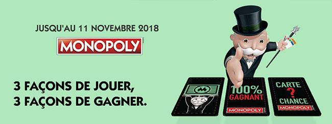 Principe du jeu Monopoly 100% gagnant 2018 de McDo