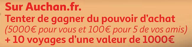 cadeaux à gagner sur jeu.auchan.fr/100jours2019