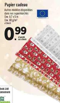 papier cadeau pas cher 0 7x5m 0 99 l unit chez lidl. Black Bedroom Furniture Sets. Home Design Ideas