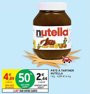 Pot de Nutella 1Kg pas cher via remise fidélité Intermarché
