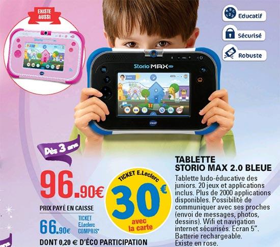 Promo Tablette Storio VTech chez Leclerc