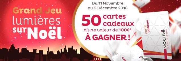 50 cartes cadeaux Nocibé de 100€